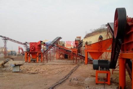 河北唐山组合式制砂生产线工作现场